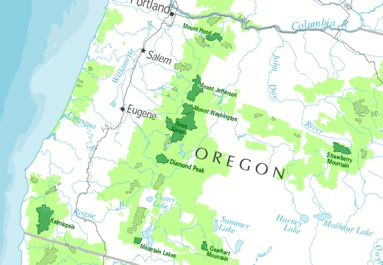 Western Oregon Class I Map - Forest Service Air Resource Management ...
