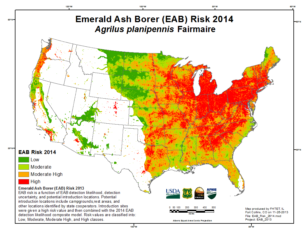 FHTET Products Agrilus Planipennis Risk Map - Us map 2014