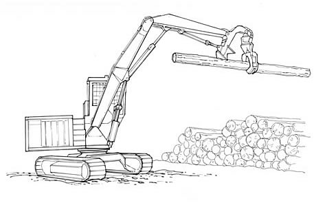 Shovel loader with live heel lifting a log.
