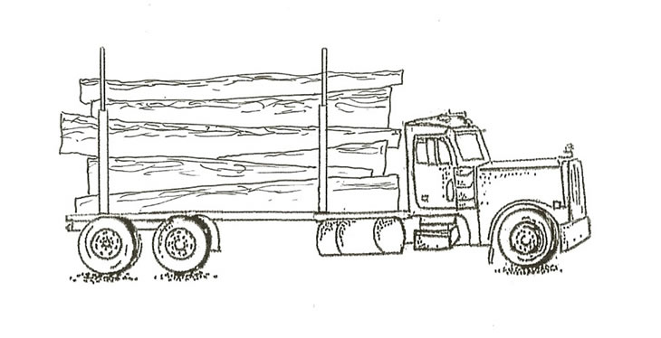 Straight Truck with indexed load of logs.