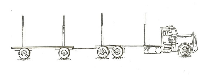 Five axle, vehicle combination truck and trailer