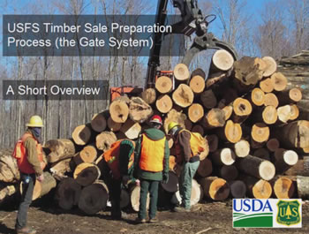 The U.S. Forest Service Timber Sale Preparation Process (The Gate System) A Short Overview opening slide.