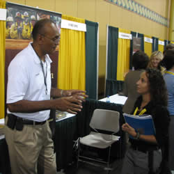 Ted Willis promoting opporunities of becoming a Forest Service employee at the SAF Convention.