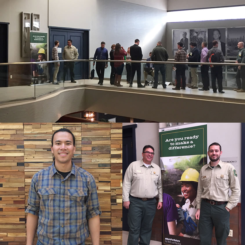 Three Pictures: students lined up at the hiring event to sign up for interviews, two Forest Service employees standing by a Forest Service employment poster, and Huan Huyhn.