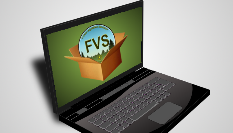 A laptop with an FVS logo on its screen.