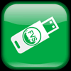 Green button, thumb drive with the FVS logo on it.