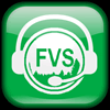 Green button, the FVS logo wearing a telephone headset.