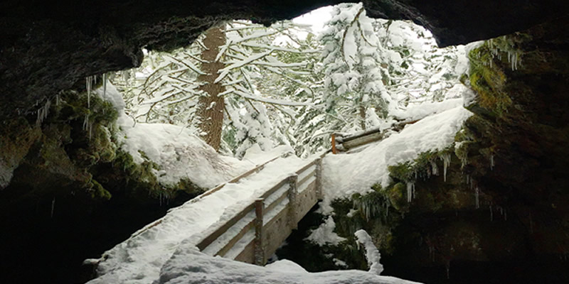 Image from inside an ice cave on the Gifford Pinchot National Forest