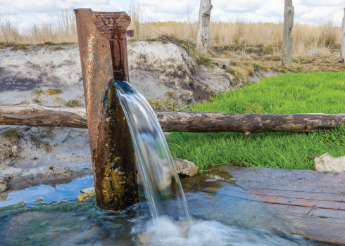 Water flowing from a well.