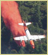 [Photograph]: An air tanker is dropping retardant on a fire.  The fire is not visible.