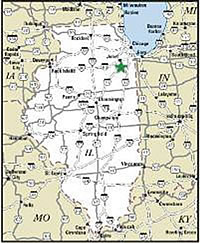Location of Midewin National Tallgrass Prairie on an map of Illinois, a green star in the northeast corner indicating its location.