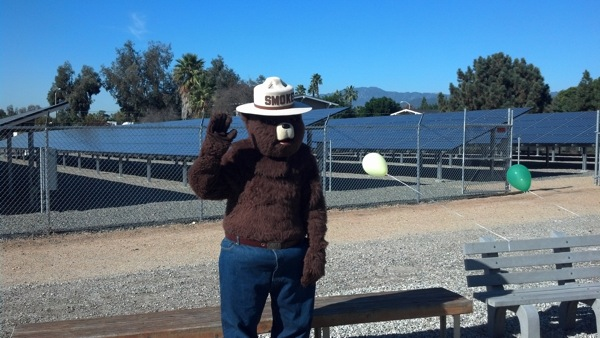 Smokey the Bear in front of a section of solar panels and waiving his right arm.