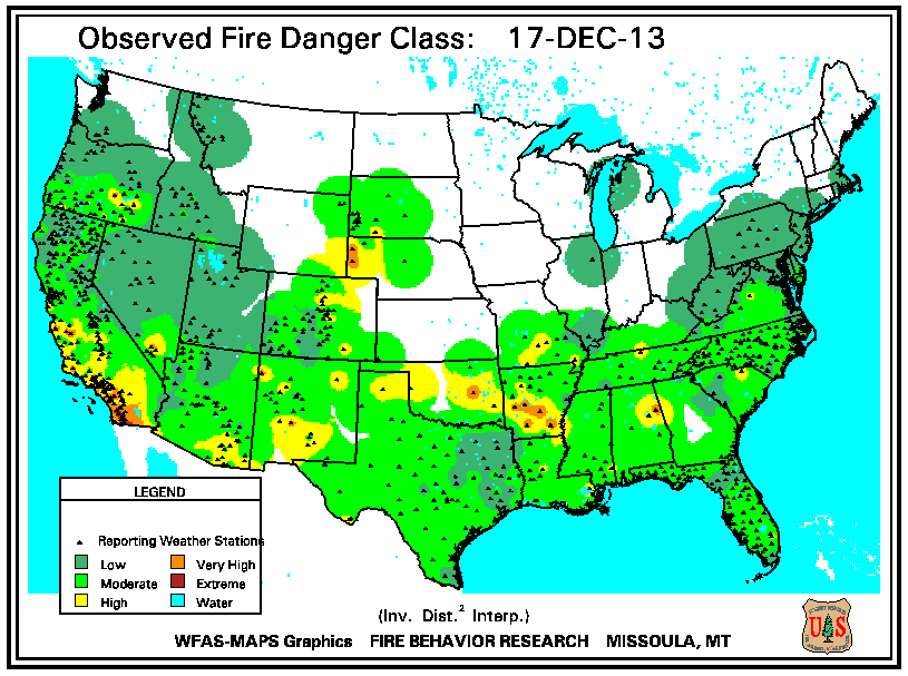 Day 1 Fire Danger Rating From The Usda Forest Service