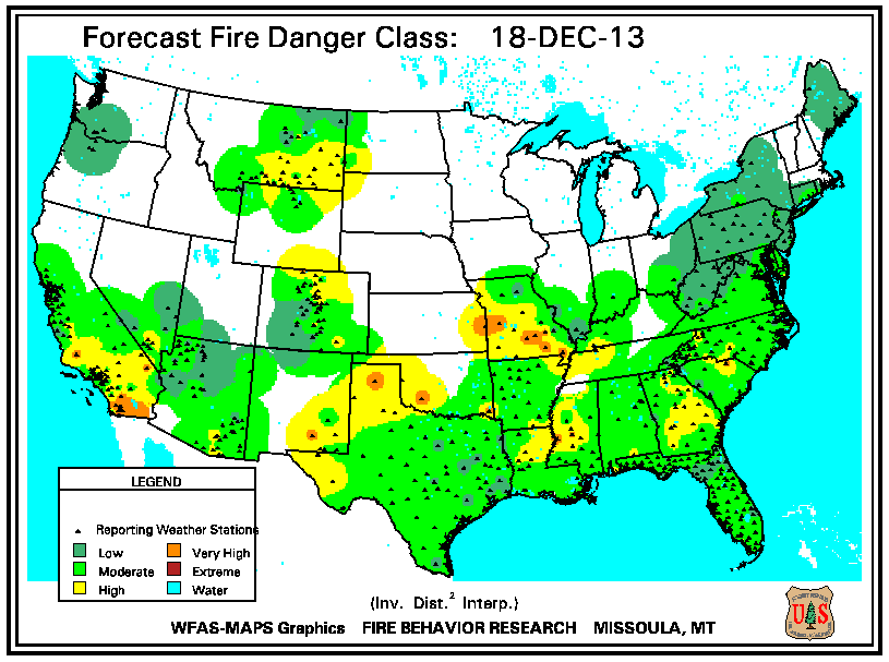 Day 2 Fire Danger Rating from the USDA Forest Service