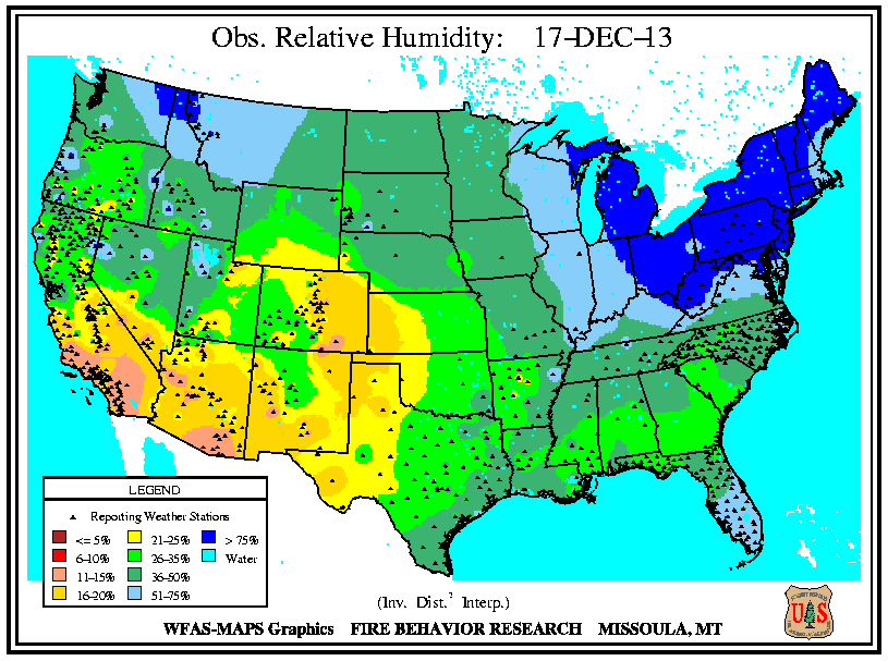 Wildland Fire Understanding Fire Danger US National Park Service - Us dewpoint map