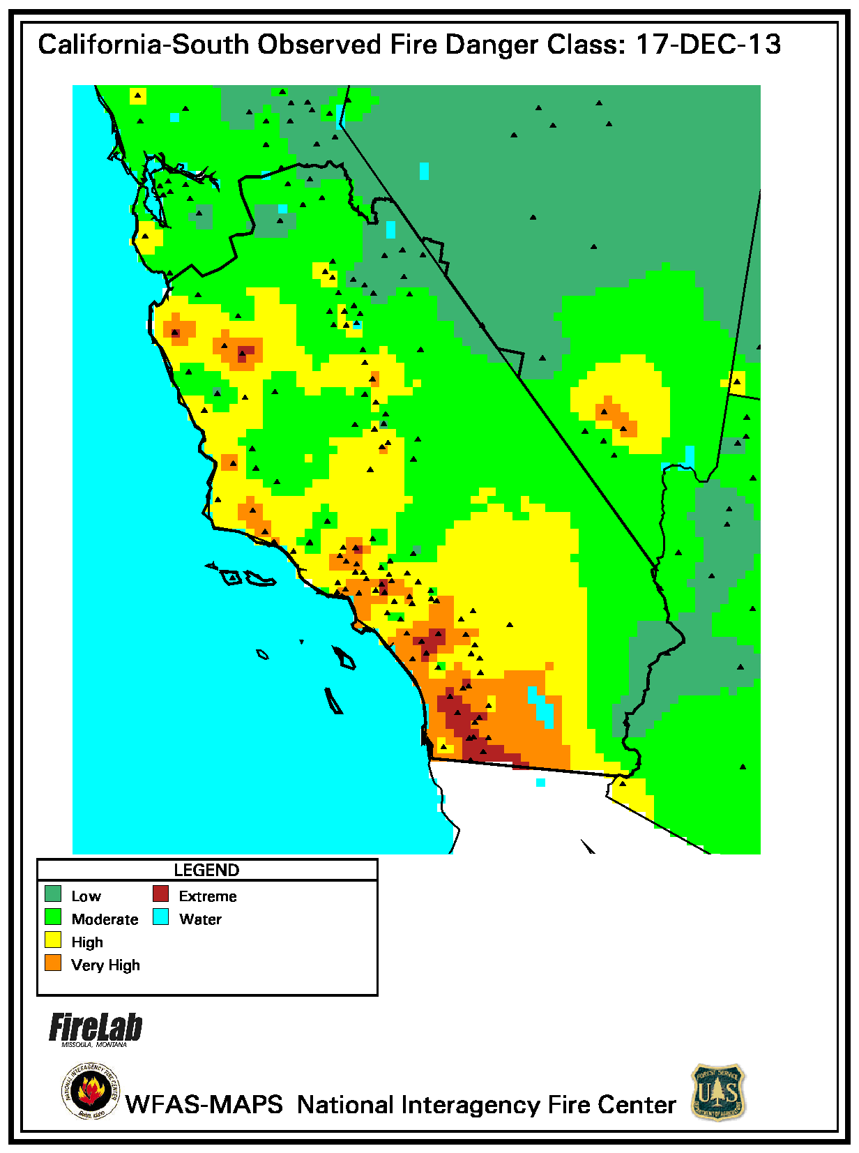 Southern California Observed Fire Danger by SLOweather.com on
