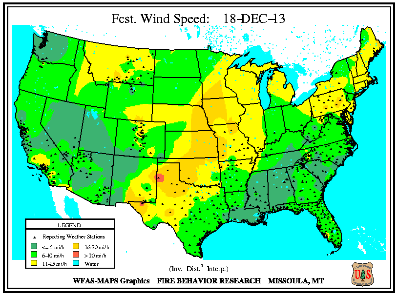 Fire Weather Info Omaha NE - Wind map of the us
