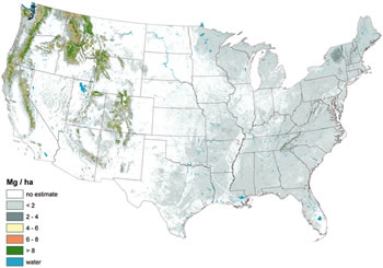 Estimates of standing dead tree carbon stocks across the conterminous U.S.