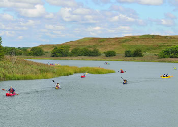 Kayakers in Fresh Kills Park, NYC.