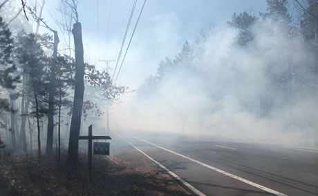 Smoke from a low-intensity prescribed fire in the New Jersey Pine Barrens affecting visibility on a nearby highway.  Photo by Warren Heilman, USDA Forest Service