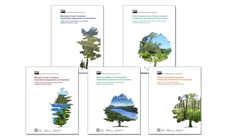Cover images of climate assessment publications.  Photo by USDA Forest Service