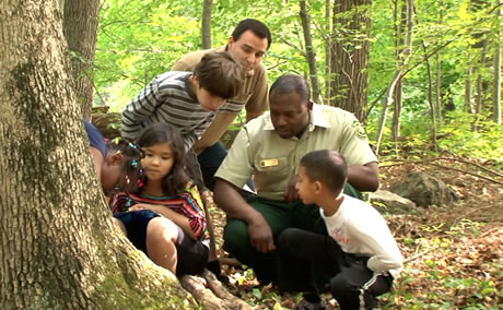 A Forest in the City and A City in the Forest, both featuring Jessie Scott, our Urban Connections representative in Boston, show kids just how much nature is in their urban neighborhood. Screen shot by WGBH Boston