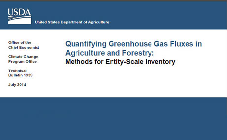 "Cover of ""Quantifying Greenhouse Gas Fluxes in Agriculture and Forestry: Methods for Entity-Scale Inventory,""  Photos by USDA"
