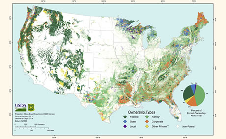 Forest Ownership Map of the Conterminous United States. Map by USDA Forest Service