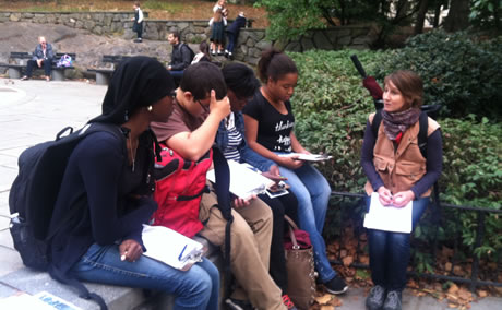 New York City high school students learn how to survey park users as part of a Woodland Ecology Research Mentorship.  Photo by Nancy Sonti, USDA Forest Service