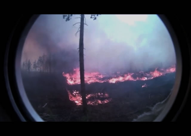Video still from a fire hardened camera showing spotting behavior in heavy fuels after brush cutting in northern Wisconsin
