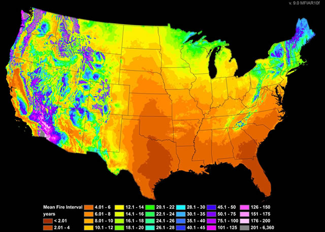 Prediction of historic fire frequency from 165-1850 for the continental US