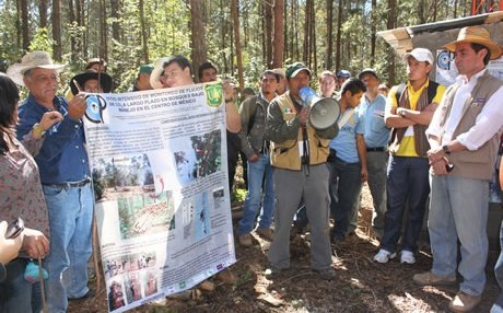 Members of the Ejido Atopixco community in Hidalgo, Mexico, discussing the new forest monitoring system​. Photo by Richard Birdsey, U.S. Forest Service.