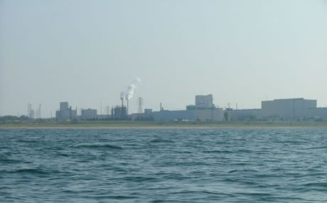 A view from Lake Michigan of the industrial belt along northwest Indiana. The area is one location selected for the Urban Waters Federal Partnership Initiative, which aims to reconnect urban communities with their waterways. Photo by Northwest Indiana Paddling Association, used with permission.