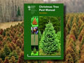 Christmas Tree Pest manual overlayed on photo of Christmas tree farm with frost and winter injury. Background photo by Steven Katovich, USDA Forest Service, Bugwood.org