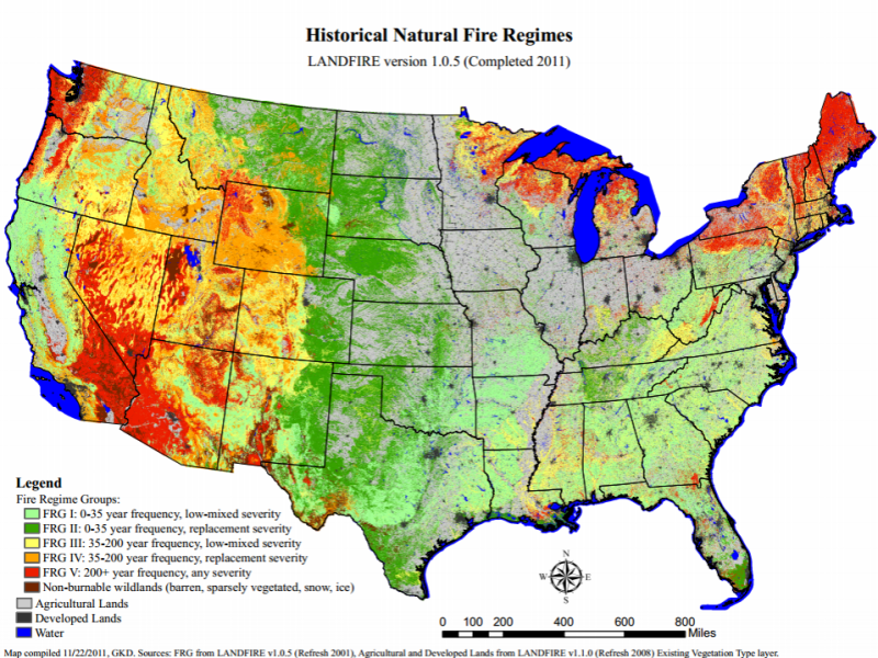 Open Space Conservation - Map of fire risk us