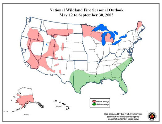 A graphic of the United States depicting the national wildland fire outlook for may through september 2003.
