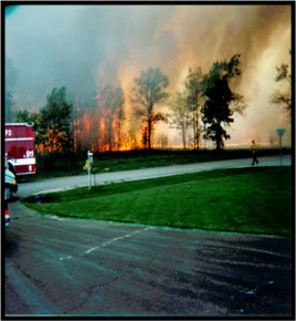 The River Road Fire was a wake up call for the Huron-Manistee and the community in 1988. The fire threatened the local high school as well as many homes.