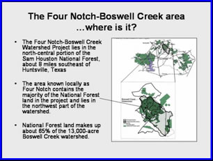 [graphic] A map depicting where the Four Notch-Boswell Creek is located