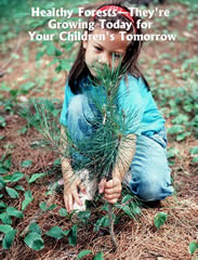 Healthy Forest Initiative poster of a little girl planting a young tree.  The title on the image reads, Healthy Forests - They're Growing Today for Your Children's Tomorrow