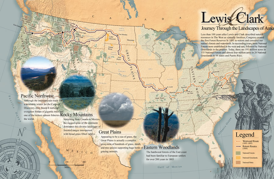 Map Of America Lewis And Clark.Enduring Stories Dynamic Landscapes Usfs