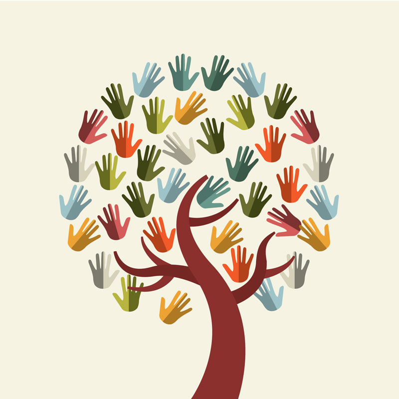 Tree of hands partnership graphic