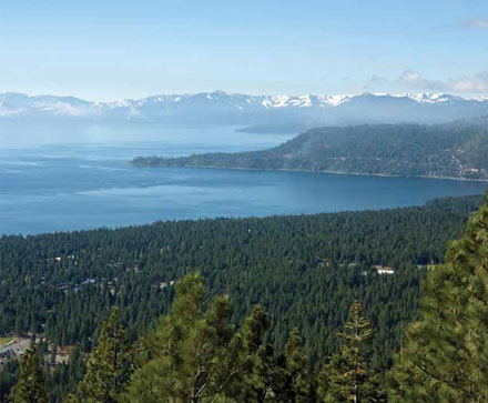 Forest in the foreground with Lake Tahoe and the mountains in the distance.