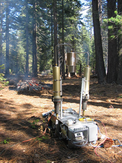 sample pile burn with instruments to sample smoke.