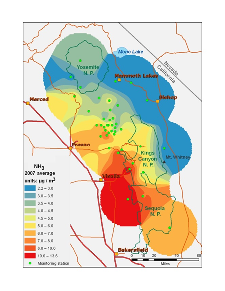 A map shows the concentrations of ammonia in the central Sierra Nevada showing the highest concentrations on the coastal side of the mountains.