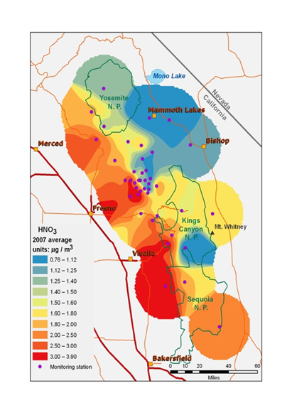 A map shows the concentrations of nitric acid in the central Sierra Nevada showing the highest concentrations on the coastal side of the mountains.
