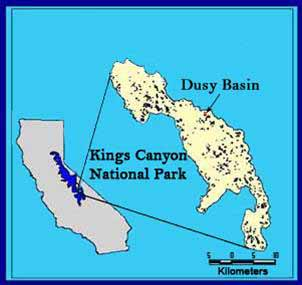 CA Map with Dusy Basin
