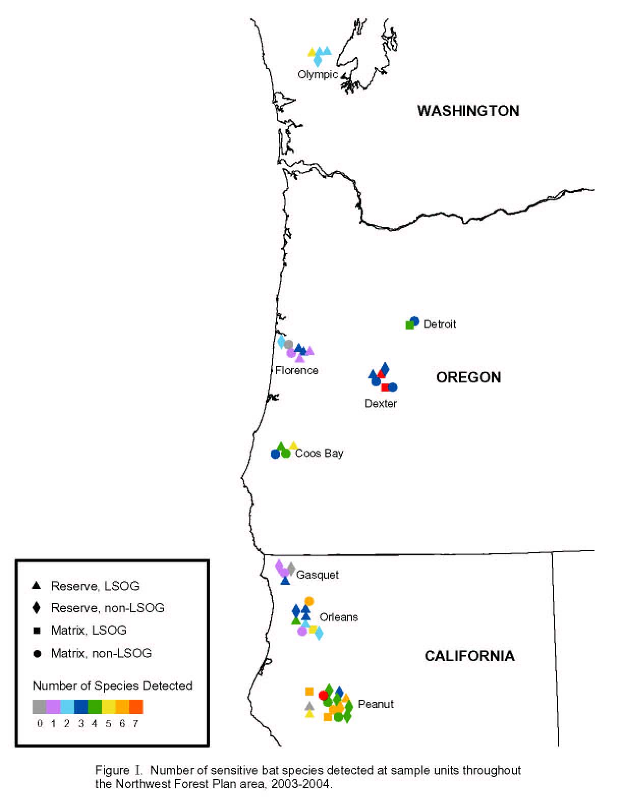 Map by number of bat species detected at sample units throughout the Northwest forest Plan area, 2003-2004
