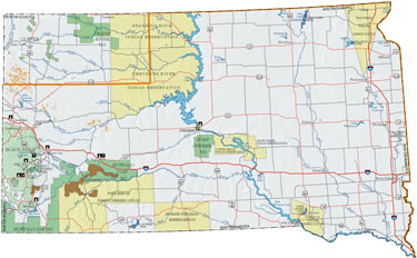 Map of South Dakota and link to Dial-Up Speed Map