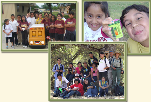 Three pictures of students participating in Environmental Education activities
