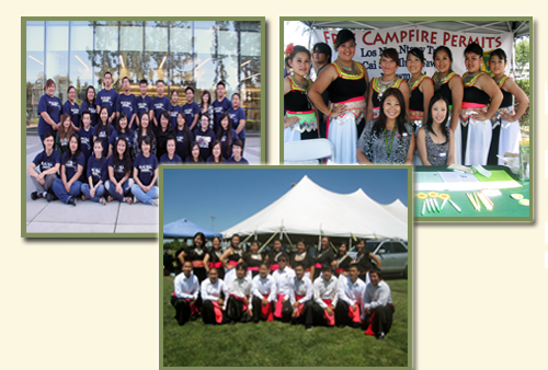 Three pictures of students at local Hmong events